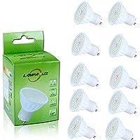 Lampaous 10er Pack led GU10 6w gu10 led Lampe kaltweiss 60 Watt Ersatz 500lm 230V AC Led Leuchtmittel Spot