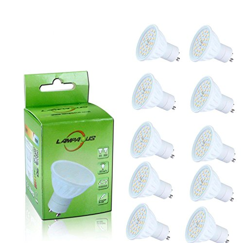 Lampaous 10er Pack led GU10 6w gu10 led Lampe kaltweiss 60 Watt Ersatz 500lm 230V AC Led Leuchtmittel Spot (230v Ersatz)