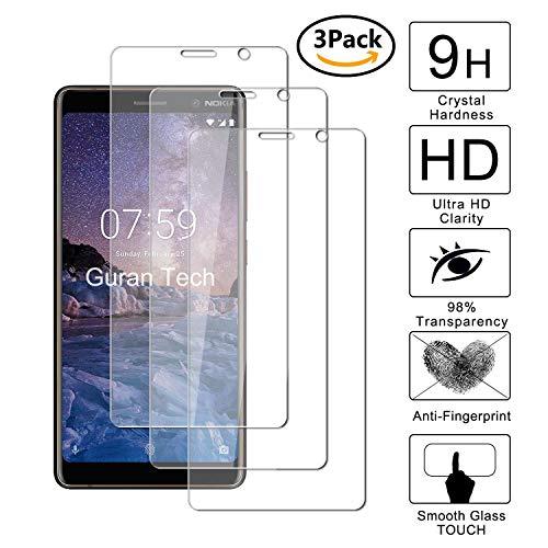 Guran [3 pezzi] pellicola protettiva per nokia 7 plus smartphone ultra sottile screen protector in vetro temperato film ultra resistente