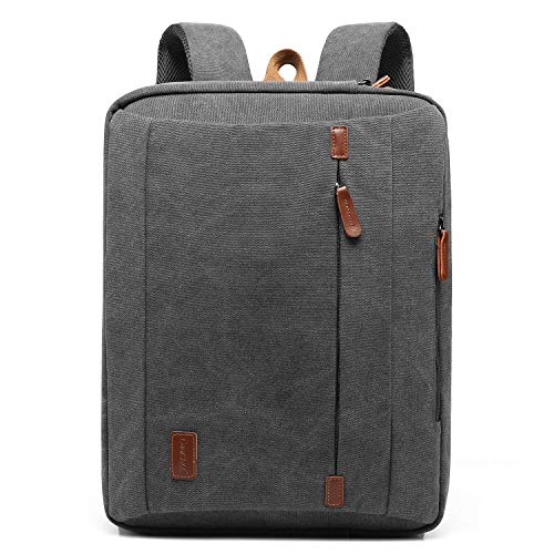 CoolBell umwandelbar Laptop Tasche 15.6 Zoll/Rucksack Business Messenger Bag Mehrzweck Aktentasche Umhängetasche Oxford Backpack für Laptop/MacBook/Herren/Damen(Canvas Grau)
