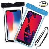 Yould [2 Pack] IPX8 Sac étanche Fluorescent Transparent, Appliquer à pour Nokia 920, Sony S/Sony SP/Sony V, Housse Imperméable Telephone (6''), Profondeur de 15m(Bleu + Noir)