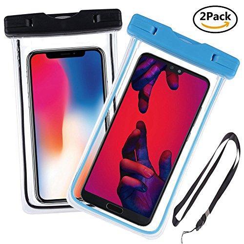 Ycloud [2 Pack] PIX8 Funda Sumergible Universal para Deportes acuaticos para LG X Power/LG X Power 2/LG Stylus 3 /LG Stylo 3, Xiaomi Redmi S2, para teléfono móvil 4-6 Pulgada -(Azul+Negro)