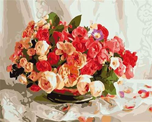 PandaCrafts Dreamsy Malen nach Zahlen-Kit, DIY Ölgemälde Farbige Zeichnung Leinwand mit Bürsten Dekorationen Geschenke - 16 * 20 Zoll Ohne Rahmen-Duftende Blütenknospe -