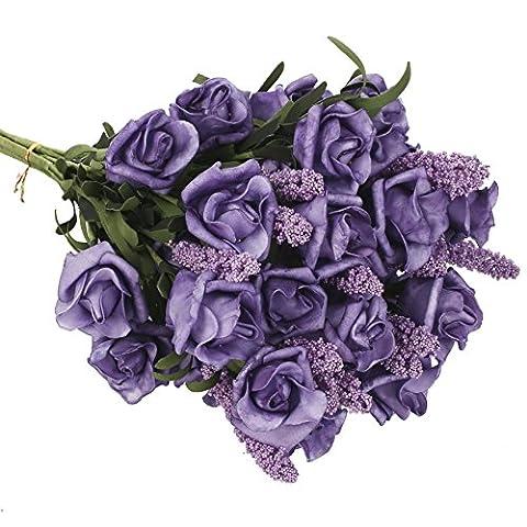 SOLEDI 9 Heads Roll Heart Roses lavender Foam Flower Arrangement Artificial Fake Bouquet Wedding Home Garden Decor - 5 Bundles(45 flowers) (Purple)