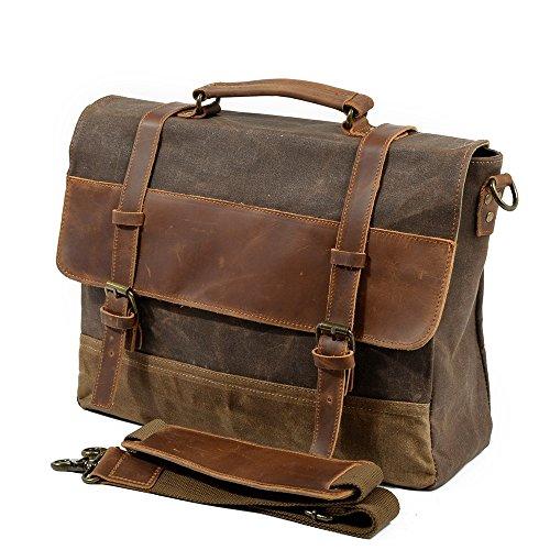 Jxth Classic Business Aktentasche für Herren Einfache Retro Reißverschluss Wasserdichte Leinwand Aktentasche Schultertasche Messenger Bag Farbe: Braun Kuriertasche Laptoptasche -