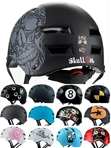Skullcap BMX Helm  Skaterhelm  Fahrradhelm , Herren | Damen | Jungs & Kinderhelm, schwarz matt & glänzend (Skull, L (56 - 58 cm))