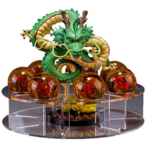 Dragon Ball Set Shenron Figura de acción con 7 Piezas 3.5 cm Dragon Balls y Estante de exhibición PVC Anime Estatua Modelo