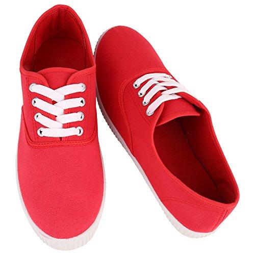 Sportliche Damen Herren Sneakers Unisex Basic Freizeit Schuhe Schnürer Stoffschuhe Prints Viele Farben Flandell Rot Red