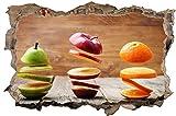 Birne Apfel Orange Früchte Obst Wandtattoo Wandsticker Wandaufkleber D0450 Größe 70 cm x 110 cm