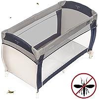 Zamboo Mosquitera universal para cuna de viaje | Red antiinsectos de malla fina para cunas y minicunas 120x60 / 80x50 cm - resistente y lavable | Color gris