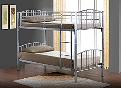 Happy Beds Corfu Ivory Finished Quality Metal Bunk Bed Frame 3' Single