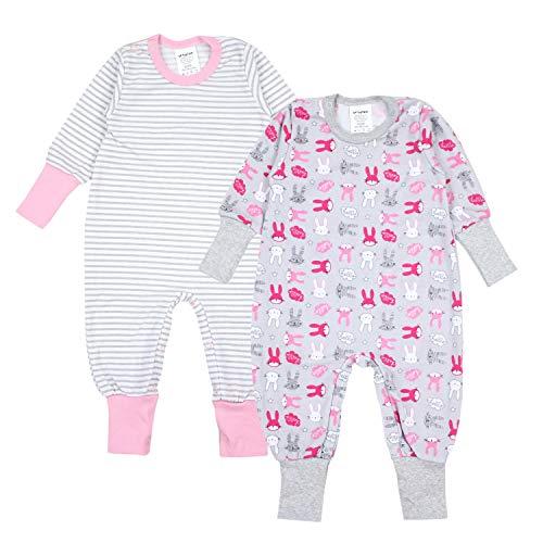 TupTam Baby Mädchen Schlafstrampler Gemustert 2er Pack, Farbe: Farbenmix 1, Größe: 74/80