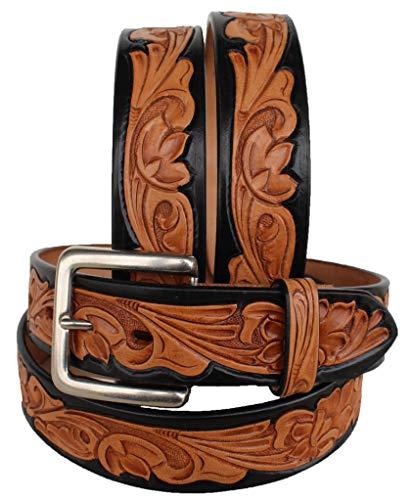 Unbekannt Westerngürtel für Herren und Damen, echtes Leder, Braun 2645RS, Tan Black, 35-36 inches -