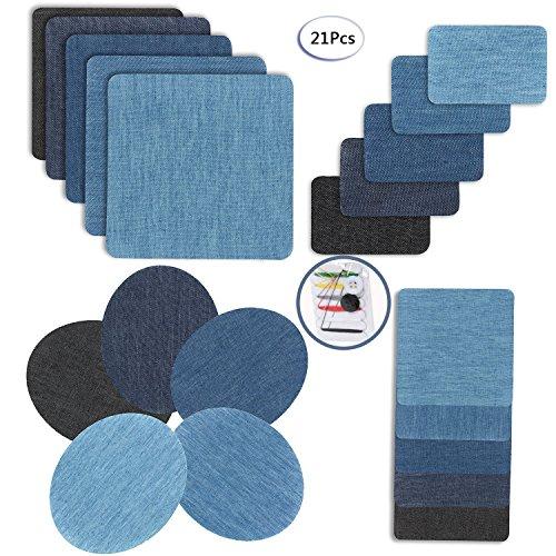 Fun Sponsor Patches zum aufbügeln, 20 Stück 5 Farben Denim Baumwolle Patches Bügeleisen Reparatursatz Aufbügelflicken Bügelflicken jeans flicken aufbügeln 4 Größen +1 Stück Nähzeug