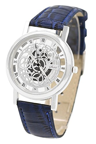 Armbanduhr - TOOGOO(R)Damen Herren Skelett Uhr Kunstleder Armband Analog Quarz Armbanduhr Sport Blau band & Silber Zifferblatt