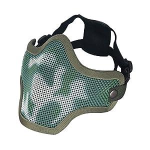 Garde de protection tactique pour airsoft/Cs en maille métallique inférieur en métal Demi Masque Visage (Camouflage)