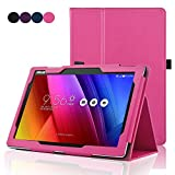 ASUS ZenPad 10 Z300C Case, ACdream Folio PU Leather Smart Cover Case for ASUS ZenPad 10 Z300C 2015 Release Case with Auto Wake Sleep Function, Hot Pink