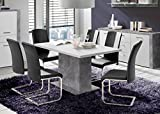 Esstisch Esszimmertisch Küchentisch 62741 Säulentisch 160-200x90cm Betonoptik lichtgrau / weiß ausziehbar