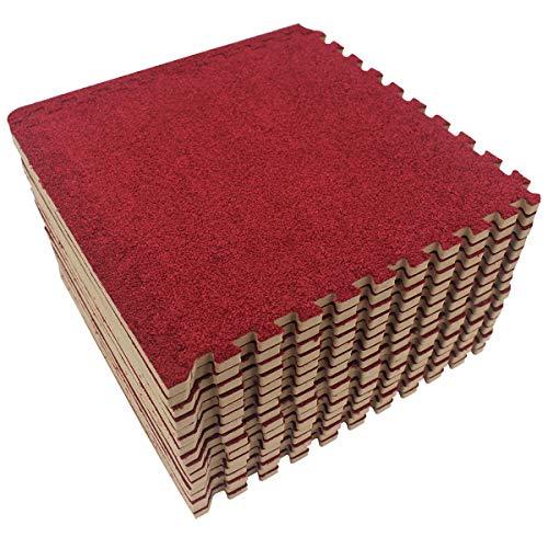 LaFamille Schaumstoff-Bodenmatte, 16 Fliesen, 16 m², Puzzleteppich, Bodenbelag, Gymnastik, Spielzimmer, Bodenmatten für Teppich, 2,5 x 2,5 cm, burgunderfarben (Im Teppich-fliesen Freien)