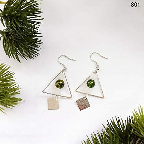 S925 Silber Grün Zauberer Von Oz Serie Ohrringe Frau Peridot Blatt Ohrbügel801 (Oz Der Zauberer Waren Von)