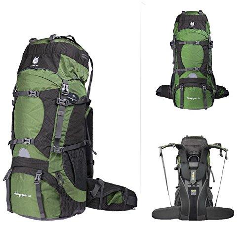 YYY-Zaino Outdoor alpinistiche di grande capacità professionale borse a tracolla borsa da viaggio impermeabile 70L maschile , dark red army green