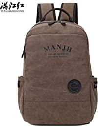 hongrun Double Shoulder Canvas Tied Trendy Casual Male Package 14 Inches to 15.6 Inches Backpack Student