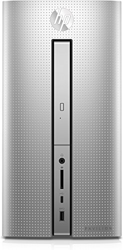 HP Pavilion (570-p063ng) Desktop PC (AMD Quad-Core A10-9700 APU, 8 GB RAM, 1 TB HDD, 128 GB SSD, AMD Radeon R7-Grafikkarte, DVD-Writer, FreeDOS 2.0) silber