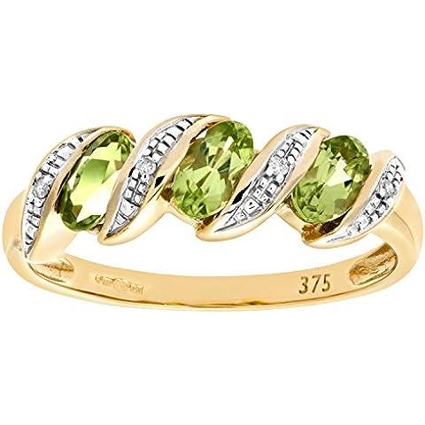 Bague - PR6270 DIA+PERIDOT - Anillo de mujer de oro amarillo (9k) con diamantes y peridotos