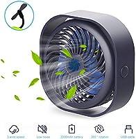 Bestllin USB Fan Quiet Desk fan with 2000mAh Battery Mini Portable Fan 360° Rotation Table Fan 3 Speeds with USB Cable...