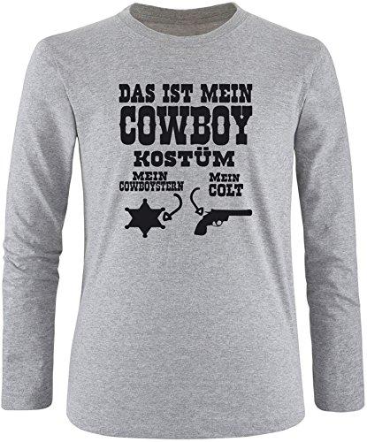 Luckja Das ist mein Cowboy Kostüm Herren Longsleeve Grau/Schwarz