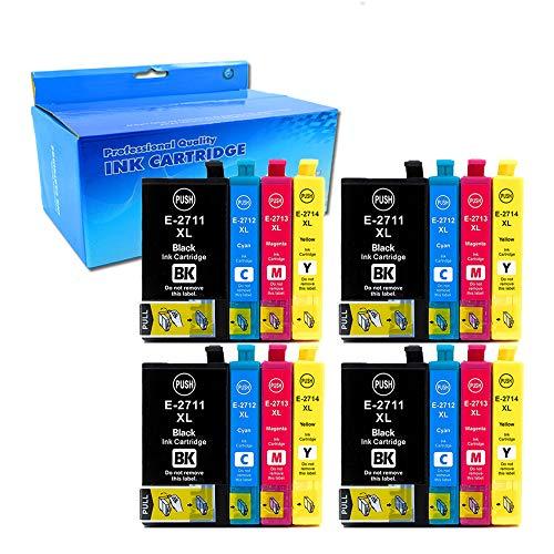 16x (4 Nero, 4 Ciano, 4 Magenta, 4 Giallo) Cartucce d'inchiostro Epson 27XL 27 Compatibile per Epson WorkForce WF-7610 WF-7620 WF-3620 WF-3640 WF-7110 WF-7710 WF-7715 WF-7720 WF-7210