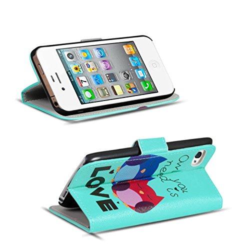 Gemusterte Hülle für Apple iPhone 4S 4 Klapphülle Tasche – Wallet Case mit verrücktem Paisley Motiv Design mit Kartenfach und Aufstellfunktion Motiv 18