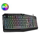 Gaming Keyboard UK【RGB & 25-Key Anti-Ghosting】VicTsing USB Wired Keyboard with 8 Independent Multimedia Keys, Plug & Play for PC, Computer, Laptop etc.