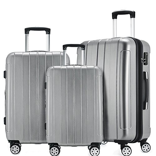 24bcea1b3 Fochier Luggage 3 Piece Set Expandable ABS+PC Hard Shell Spinner Suitcase  Lightweight (20