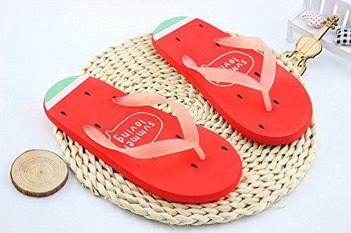 Heheja Femmes Eté Confort Flip Flop Poids Léger Tongs Casual Plage Sandales Rouge