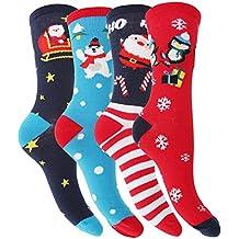 Floso - 4 pares de calcetines navideños