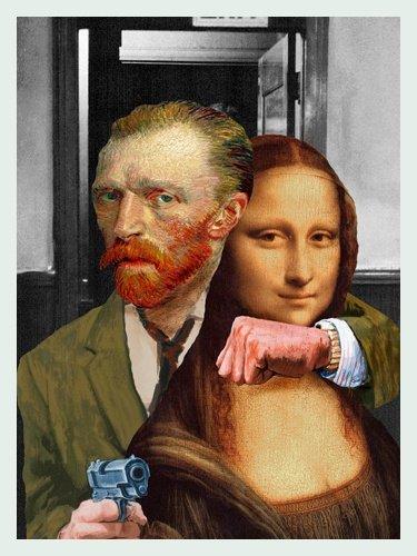 Bild mit Rahmen Barry Kite - Art Theft - Digitaldruck - Holz silber, 40 x 53.2cm - Premiumqualität - Collage, Persiflage, Van Gogh, Leonardo da Vinci, Mona Lisa, Kunstraub, Dieb.. - MADE IN GERMANY - ART-GALERIE-SHOPde