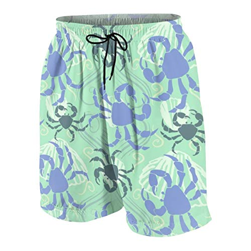 hulili Swim Trunks Crabella Green Png Beach Beach Shorts Printed Funny Quick Dry for Kids Boys