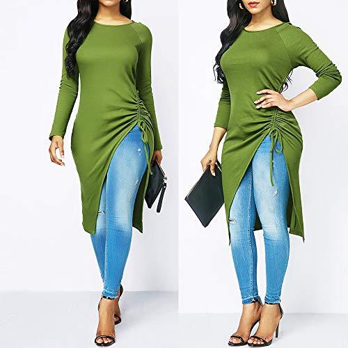 DIKEWANG Women Vintage Blouse Tops, Ladies' Irregular Fashion Solid O-Neck Long Sleeve Bandage Irregular Blouse Loose Tops Jumper Casual Blouse T-Shirt