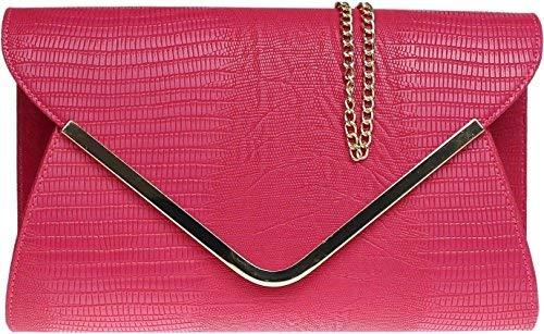 H&G Damen Animal Print Croc flachen Umschlag Clutch Abendtasche - Pink -
