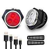 Hually LED Fahrradlicht Set, StVZO USB Wiederaufladbare LED Fahrradlampe, LED Weißlicht and...