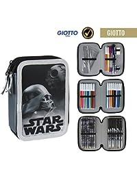 Disney Star Wars 2700-199 Trousse Triple, 3 compartiments, feutres, crayons, accessoires école 42 pièces, Polyester, multicolore, Darth Vader