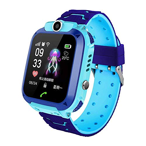 HYLH  Kids Smartwatch Waterproof, GPS Tracker Phone Watch for Children with SOS Call Flashlight Camera Touch Screen Compatible for IOS and Android (Color : Blue) Watch Phone