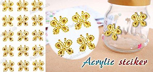 Modisch trendige Acryl Glitzer Glitter Bling Handwerk Aufkleber Bunten Strass Aufkleber Blatt Sticker- FashionLife
