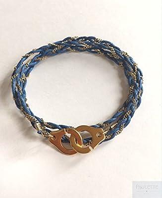 Bracelet menottes 3 tours tressés chaîne dorée et cordon
