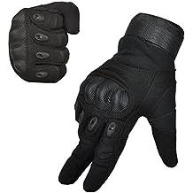 Guantes de dedo completo de hombre para los deportes al aire libre moto de escalada de esquí de equitación de senderismo, Negro-L