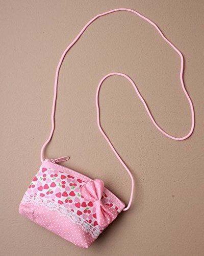 GIRLS SMALL HEART PRINT SPOTTY BOW PURSE Handbag Fabric Multi Fashion Accessory (Pink)