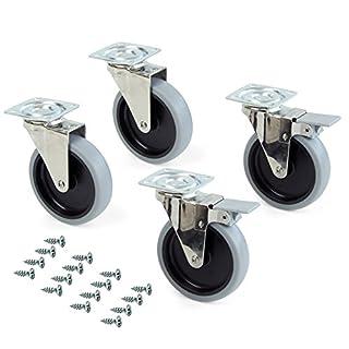 Emuca - Set aus 4 Lenkrollen für Möbel Ø100mm mit Anschraubplatte und Kugellager, schwenkrollen gummi aus grau Farbe