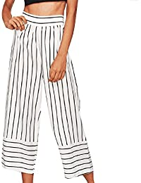 e065e1da6f18 Topgrowth Pantaloni Larghi Donna Eleganti A Vita Alta Capri Pant Stampa a  Righe Cropped Pant Casual Ufficio Pantalone a Righe Slim Fit…