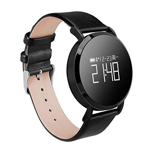 Teepao Fitness Tracker Armbanduhr für Damen Herren OLED-Bildschirm Activity Tracker mit Herzfrequenz/Sleep Monitor Kalorien Track IP67 Wasserfest Schwarz Stahl Band Black Leather Band